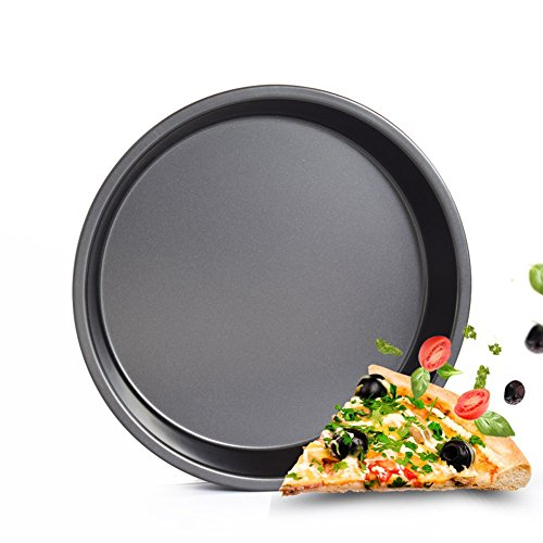 "Durable Nonstick Carbon Steel Pizza Tray - GRILL Pan For Cooking, Baking, Grilling - 12"" Deep Dish Universal For Oven And BBQ Comes With Pizza And Iron Kitchenware"