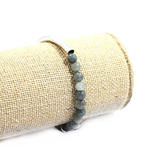 Silver Bracelet Beaded Stretch Plated (tom+alice Fashion New Style Women's 6mm Natural Stone Beaded Bracelets with Circle Tube 14K Gold Silver Plated Gray-Green Silver)