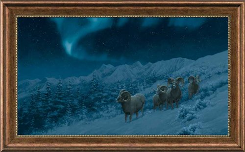 Premier Sheep (Night Lights Bighorn Sheep Michael Sieve Premier Giclee Canvas Framed Print Limited Edition of 50)