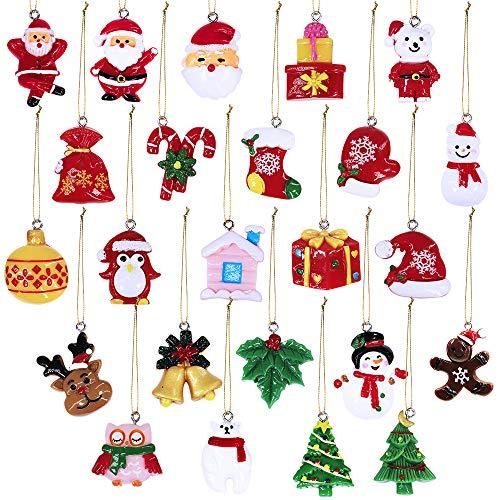 Winlyn Christmas Countdown Advent Calendar Ornaments 24 Set Mini Resin Petite Treasures Ornaments Hanging Christmas Tree Ornaments Santa Snowman Gingerbread Man Reindeer Ornaments for Holiday (Tree Restoration Hardware Christmas Ornaments)