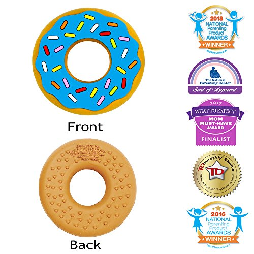 Silli Chews Blue Silicone Teether Ring Favorite Donut Soother Best Infant Teething Toy for Babies Popular Chew Toys