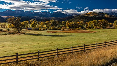 Double RL Ranch near Ridgway Colorado USA with the Sneffels Range in the San Juan Mountains Poster Print by Panoramic Images (12 x 7)