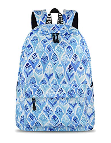 Yanaier School Bookbags for Girls Cactus Waterproof Lightweight Canvas Backpack for Girls Teenage Daypack Casual Travel Bag for Women Blue
