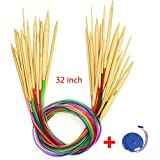 #8: Circular Knitting Needles, 18 Sizes Bamboo Wood Needles with Flexible Colorful Tube, Diameter from 0.08