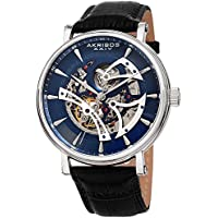 Akribos XXIV Skeleton Men's Watch – Crocodile Embossed Black Leather Strap – Automatic Mechanical Wristwatch See Through Dial – AK1020BUBK