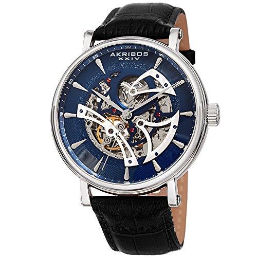 Akribos XXIV Skeleton Men's Watch – Crocodile Embossed Black Leather Strap – Automatic Mechanical Wristwatch See Through Dial – AK1020BUBK - Mens Black Crocodile Leather Watch