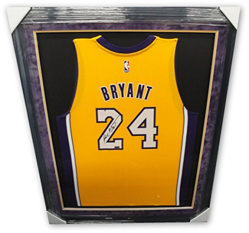 Kobe Bryant Hand Signed Autographed Yellow Jersey Framed Purple Suede Mat Panini (Suede Framed)