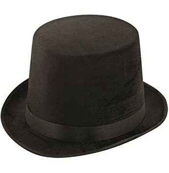 BLACK ADULT LADIES MENS VELOUR VELVET TOP HAT FANCY DRESS VICTORIAN  RINGMASTER  Amazon.co.uk  Toys   Games 1228e5bd005