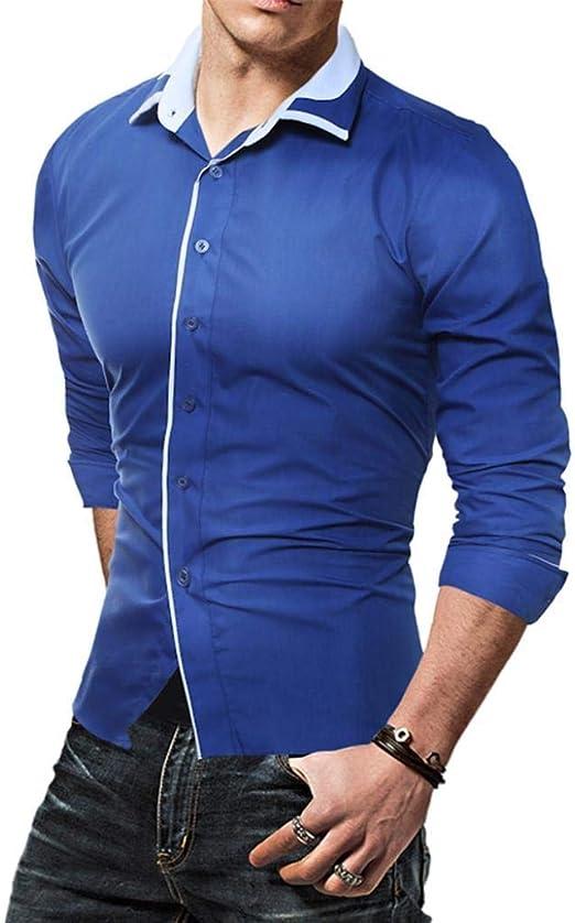 HhGold Camisa Negra para Hombre Slim Fit Top Manga Larga Casual Polo Trabajo Patrón abofeteado Cuello en V Túnica Botón Algodón Reino Unido Venta Pullover Blusa XXL: Amazon.es: Hogar