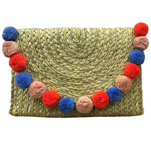 ZOI Handcrated Jute Clutch Summer Beach Bag with Colorful Pom Pom Design