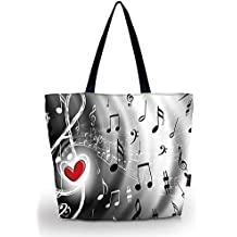 ICOLOR Music Notes Large Eco Reusable Eco-friendly Shopping Bag Handle case Bag School Shopping Large Grocery shoulder bag Reusable Portable Storage HandBags Convenient Shoppers Tote YGWB-36