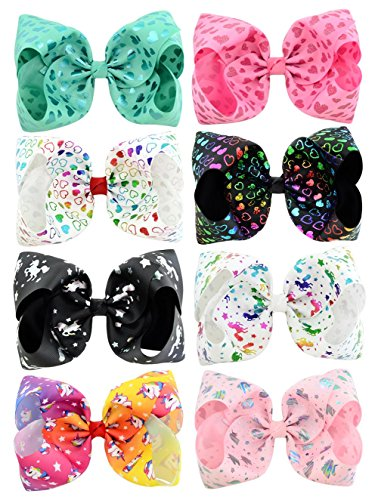 WarmGo Set of 8 Hair Bows 8 Inch with Alligator Clips, Large Colorful Unicorn Heart Bow Hairpin Girls Bows for Teens Kids Toddlers