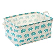 Toy Storage Bins Basket Canvas Collapsible Chest Box Toy Organizer for Nursery Storage, Kid's Toy & Laundry, Gift Baskets(Blue Elephant)