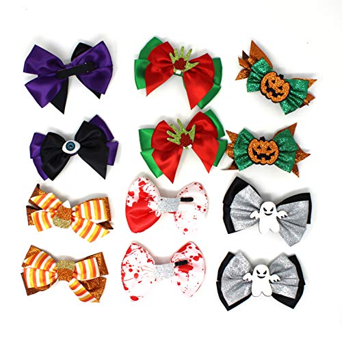 Spooky Halloween Clips (JOYIN Halloween 6 Designs Hair Bowknot Baby Kids Girls Hairpin Hair Bow Clip Hair Decorations for Party Supplies (12)