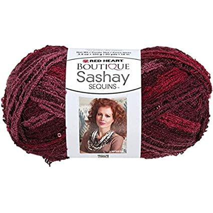 Amazon Red Heart Boutique Sashay Sequins Yarn Cabernet