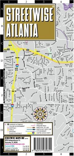 Streetwise Atlanta Map - Laminated City Center Street Map of Atlanta, Georgia - Folding pocket size travel map with Marta metro - Metro Center Map Dc