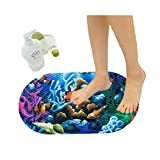 Eanpet Kids Bath Mat with Suction Cups Non Slip Bathtub and Shower Mat for Babies 15x27 Inches Toddler Shower Resistant Bathroom Floor Bathtub Mats PVC Cute Pattern Design Bathtub Mat - Ocean