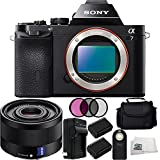 Sony Alpha a7 Mirrorless Digital Camera Bundle with Sony Sonnar T FE 35mm f/2.8 ZA Lens Includes 2 Replacement FW-50 Batteries + Charger + Wireless Remote + 3 Piece Filter Kit + Carrying Case + Microfiber Cleaning Cloth