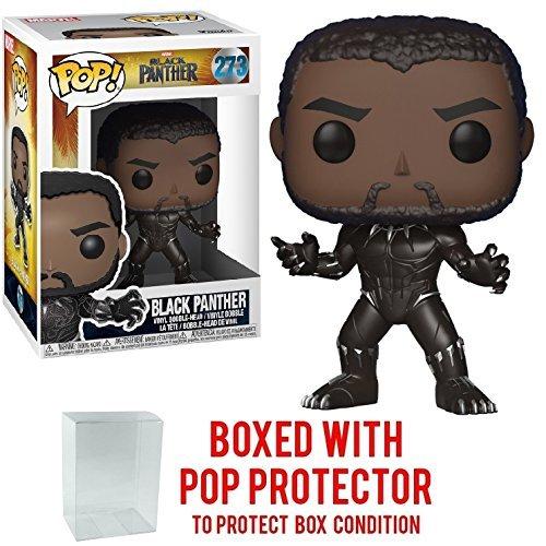 Funko Pop! Marvel: Black Panther - Unmasked Black Panther #273 Vinyl Figure (Bundled with Pop BOX PROTECTOR CASE)