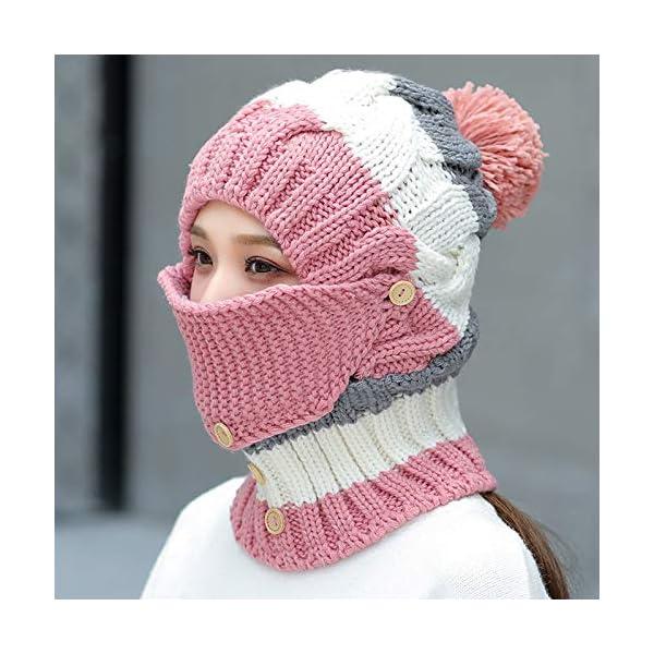 a8fa8f68f03 Women s Winter Windproof Warm Plus Velvet Knit Hat Scarf Set with ...