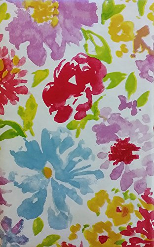 Watercolor Floral Abstract Vinyl Flannel Back Tablecloth (52