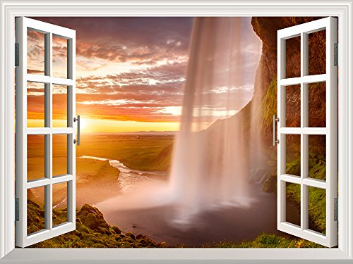 Removable Wall Sticker Wall Mural Majestic Waterfall at Sunset Creative Window View Wall Decor