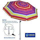 AMMSUN 2018 7 ft Sand Anchor Beach Umbrella with Flaps with zinc Tilt Silver Coating Inside Plastic Screw Base(Multicolor Red