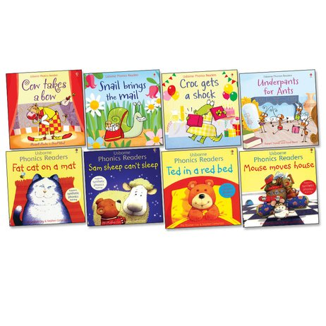 Usborne Phonics Readers Pack - Eight (8) Titles Collection! Cow Takes a Bow, Croc Gets a Shock, Fat Cat on a Mat, Mouse Moves House, Sam Sheep Can't Sleep, Snail Brings the Mail, Ted in a Red Bed, Underpants for Ants (Usbornic Readers) -