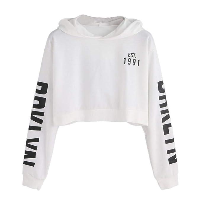 vendita calda online 19b43 d8955 Felpe Ragazza Tumblr con Cappuccio Corte Mambain Felpa Donna Maniche Lungo  Stampa Lettera Pullover Casual Eleganti Moda Top Taglie Forti Sweatshirt ...