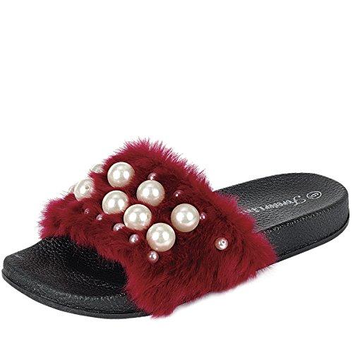 Pour Toujours Lien Izzy-33 Femme Bout Ouvert Faux Perle Embellie Flip Flop Glisser Sandales Plates Sandales Bordeaux