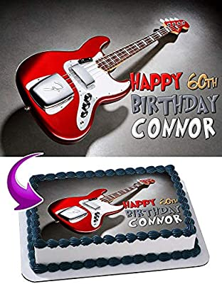 Personalised Red Electric Guitar Music Edible Icing Birthday Party Cake Topper