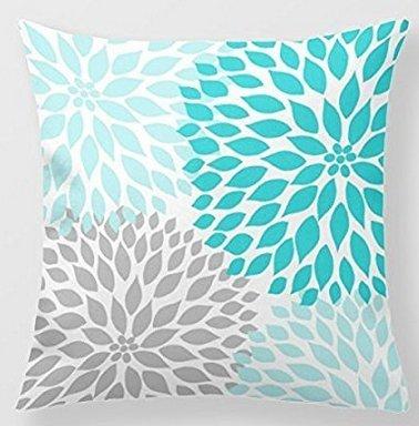 babyssj manta decorativa Funda de almohada turquesa azul gris Dahlia decoración sofá 18 x 18 pulgadas