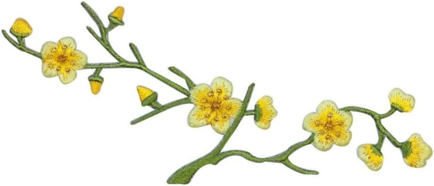 ID 6107 Yellow Flower Blossom Tree Patch Branch Embroidered Iron On Applique