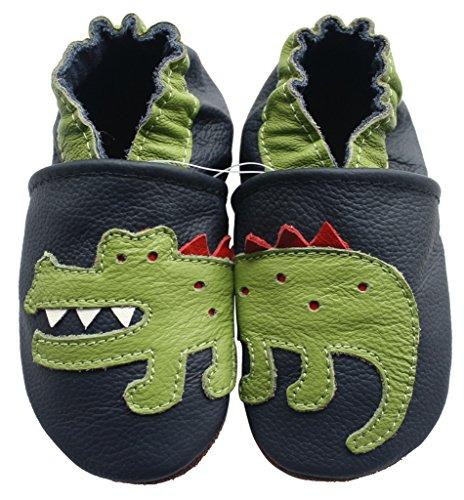 Carozoo Crocodile Dark Blue Baby Boy Soft Sole Leather Shoes Dark Blue