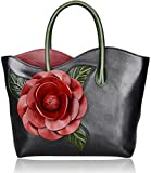 PIJUSHI Designer Genuine Leather Purses and Handbags for Women Satchel Flower Handbag (8825 Black)