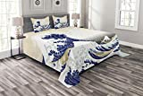 Lunarable Wave Bedspread Set Queen Size, Hokusai Pattern Japanese Ukiyoe Themed Asian Oriental Sketch Style Ocean, Decorative Quilted 3 Piece Coverlet Set with 2 Pillow Shams, Navy Blue Beige White