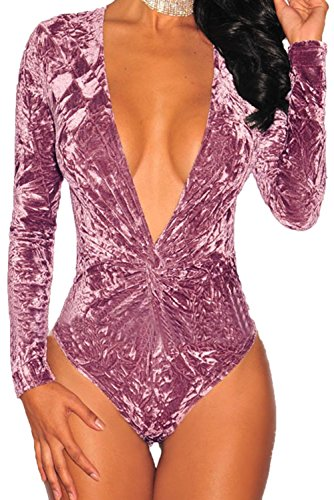 FIYOTE Women One-Piece V Neck Leotard Crushed Velvet Long Sleeves Jumpsuit Bodysuit (S, Mauve)