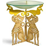 Whimsical Cat Bird Bath - Steel Pedestal with Frosted Glass Bowl