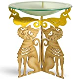 Whimsical American Made Cat Birdbath - Steel Pedestal with Frosted Glass Bowl