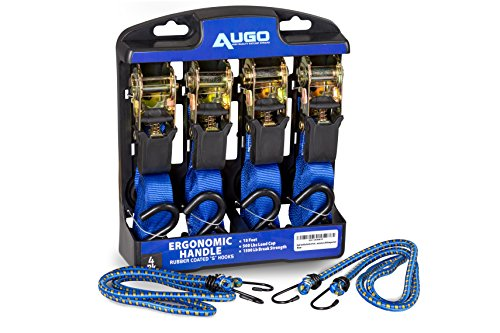 Bed Tie Down Hooks - Ratchet Tie Down Straps - 4 Pk - 15 Ft- 500 Lbs Load Cap- 1500 Lb Break Strength- Cambuckle Alternative- Cargo Straps for Moving Appliances, Lawn Equipment, Motorcycle - Includes 2 Bungee Cord