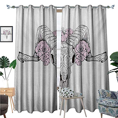 BlountDecor Skull Thermal Insulating Blackout Curtain Bones of a Lamb with Rose Flowers Spiritual Oriental Creepy Bohemian Graphic Print Patterned Drape for Glass Door W120 x L96 Lilac Grey ()