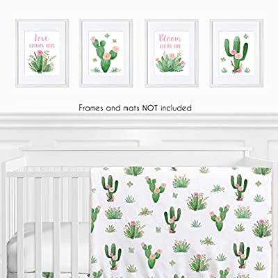 Sweet Jojo Designs Pink and Green Boho Wall Art Prints Room Decor for Baby, Nursery, and Kids for Watercolor Cactus Floral Collection - Set of 4 - Love Grows Here, Bloom Little One