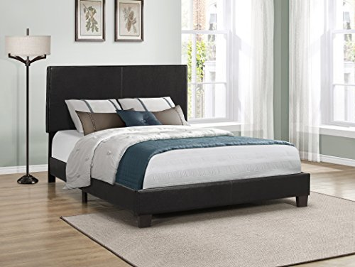Furniture World Cody Contemporary Upholstered Bed, Queen, Black