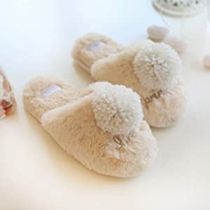 nouler Autumn and Winter Silky Velvet Slip-Proof Warm Cotton Slippers Indoor Home Gift