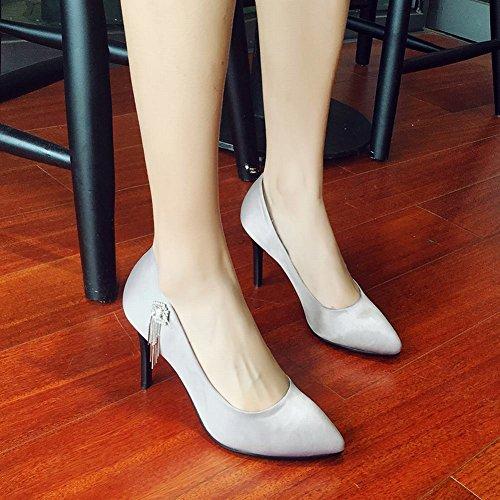 Carolbar Womens Pointed Toe Rhinestones High Heels Stilettos Pumps Shoes Grey rfzLeH8QHs
