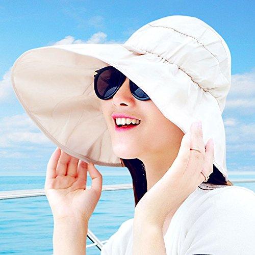 Beige Plaster - GAOQIANGFENG Ms. Sun Visor Hat Summer Travel All-Match face UV Folding Sun Helmet Visor,Magic Plaster,Beige (air Supply Rope)