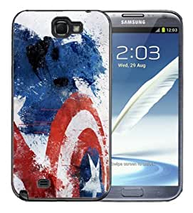 Samsung Galaxy Note 2 Black Rubber Silicone Case - Captain Maerica Red White Blue WANGJING JINDA