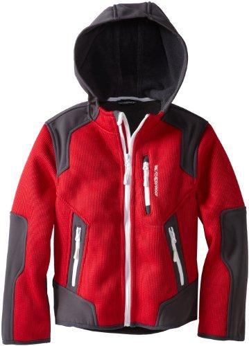 Weatherproof Big Boys' Textured Fleece with Back Shirt Tail Hem, Deep Red, 14/16