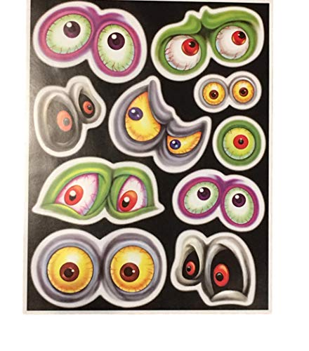 Greenbriar International Halloween Window Decorations - Sticker Sheets for Halloween Window Designs (Frightening Monster Eyes (10pcs)) -
