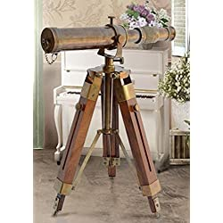 THORINSTRUMENTS (with device) Nautical Brass Antique Telescope Spyglass With Wooden Stand Home Decor Gift